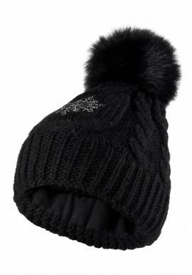 Černá vlněná čepice s pomponem pro dámy