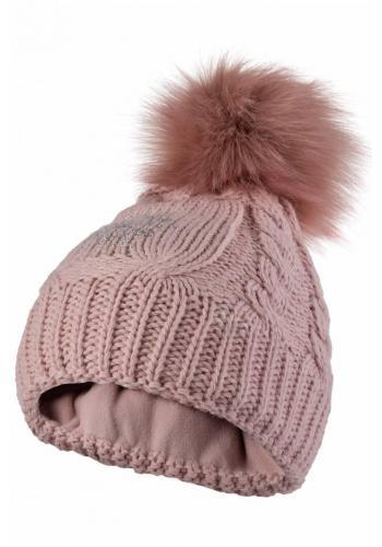 Dámská vlněná čepice s pomponem v růžové barvě