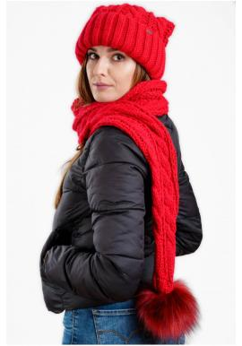 Červená vlněná čepice se šálou s pomponem pro dámy