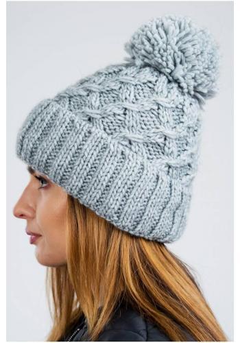 Šedá teplá čepice na zimu pro dámy