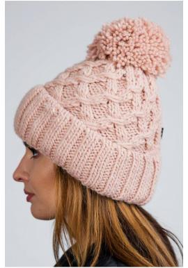 Růžová teplá čepice na zimu pro dámy