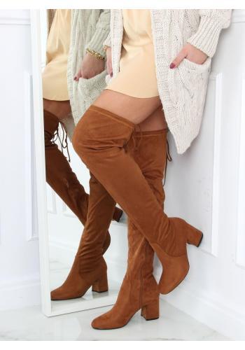 Klasické dámské kozačky nad kolena hnědé barvy na podpatku