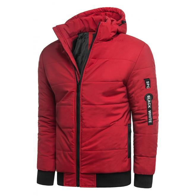 Pánská zimní bunda s prošíváním v červené barvě