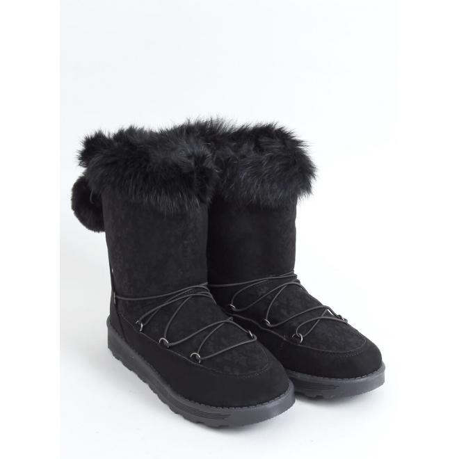 Stylové dámské sněhule černé barvy s pompony