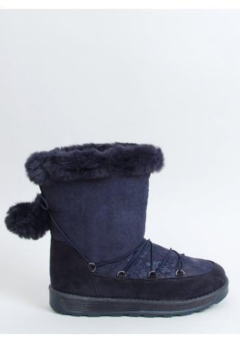 Dámské stylové sněhule s pompony v tmavě modré barvě