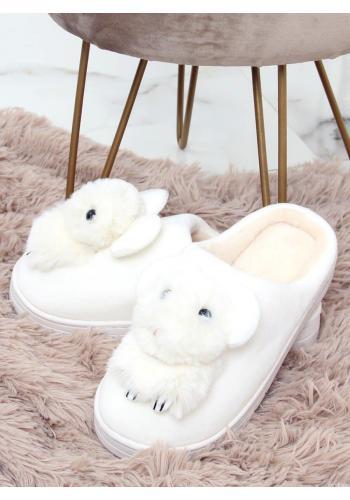 Bílé teplé pantofle s gumovou podrážkou pro dámy
