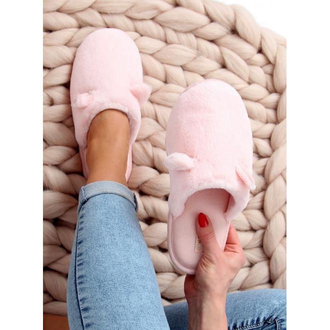 Teplé dámské pantofle světle růžové barvy s ušima