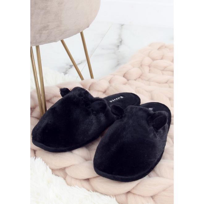 Dámské teplé bačkory s ušima v černé barvě