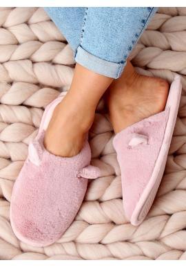 Růžové teplé pantofle s ušima pro dámy