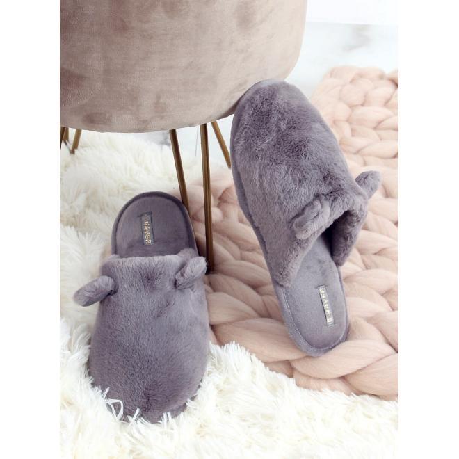 Teplé dámské pantofle šedé barvy s ušima