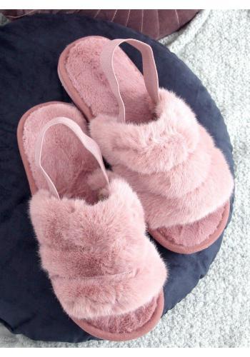 Dámské kožešinové bačkory s gumičkou v růžové barvě