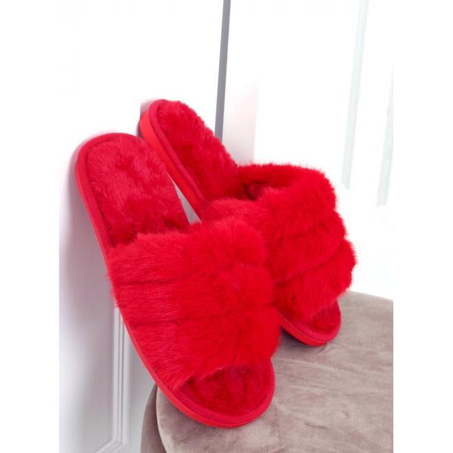 Červené kožešinové bačkory s gumičkou pro dámy