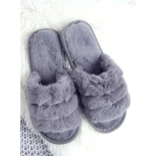 Kožešinové dámské pantofle šedé barvy s gumičkou