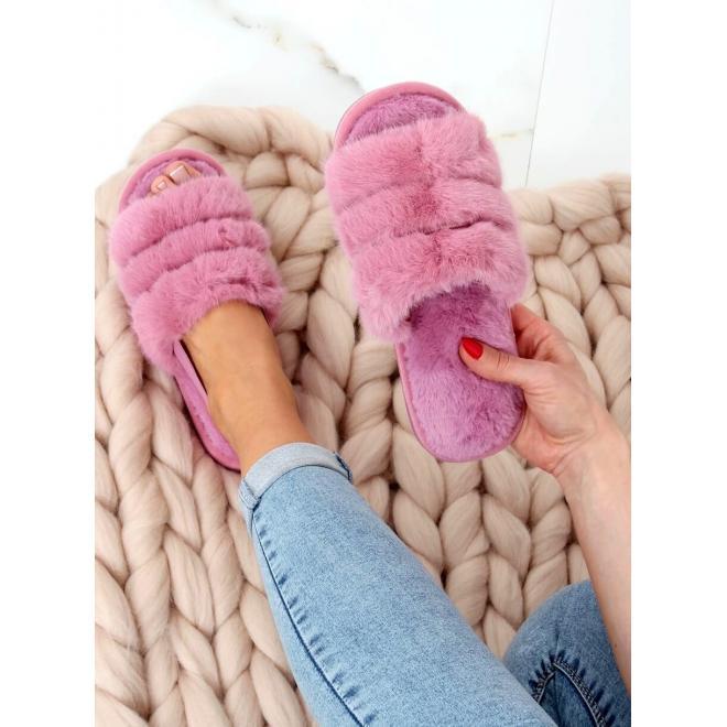 Dámské kožešinové bačkory s gumičkou ve fialové barvě