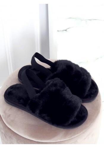 Černé kožešinové bačkory s gumičkou pro dámy