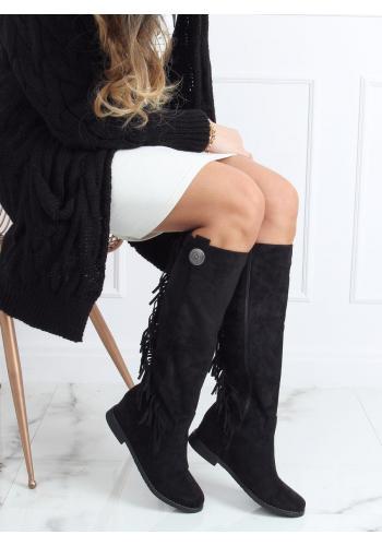 Černé třásňové kozačky na skrytém podpatku pro dámy