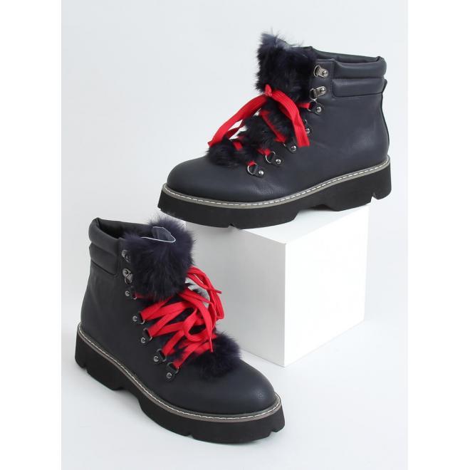 Tmavě modré stylové boty s ozdobnou kožešinou pro dámy