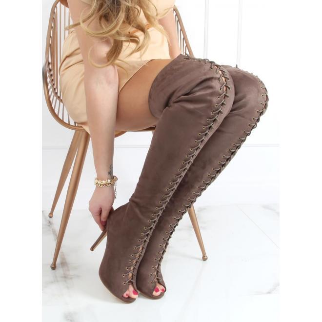 Šněrovací dámské kozačky nad kolena khaki barvy na podpatku