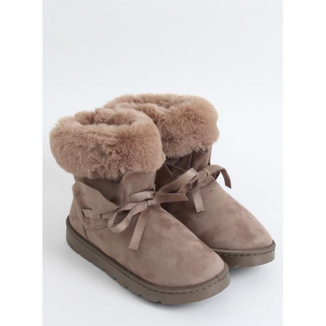Béžové semišové sněhule s volánem a kožešinou pro dámy