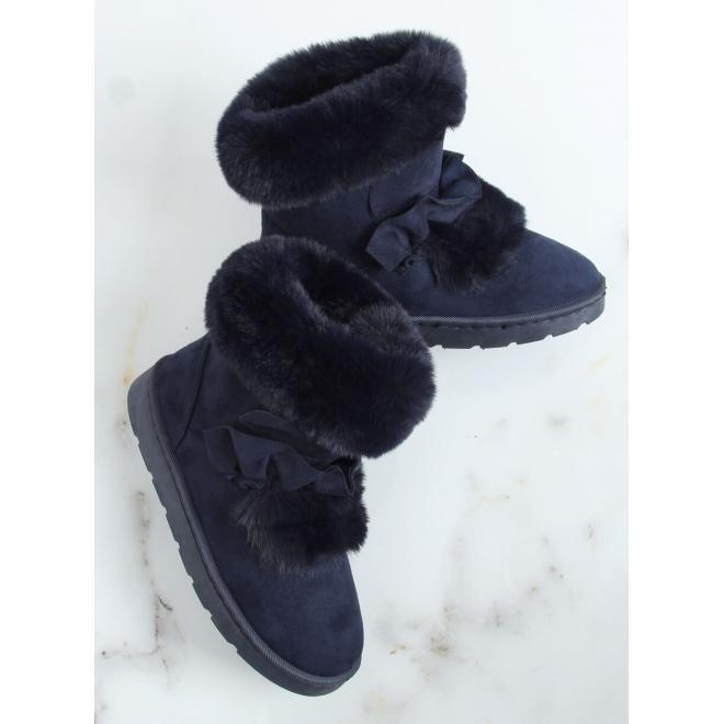Dámské semišové sněhule s volánem a kožešinou v tmavě modré barvě