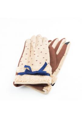 Dámské zimní rukavice se srdíčky v krémové barvě