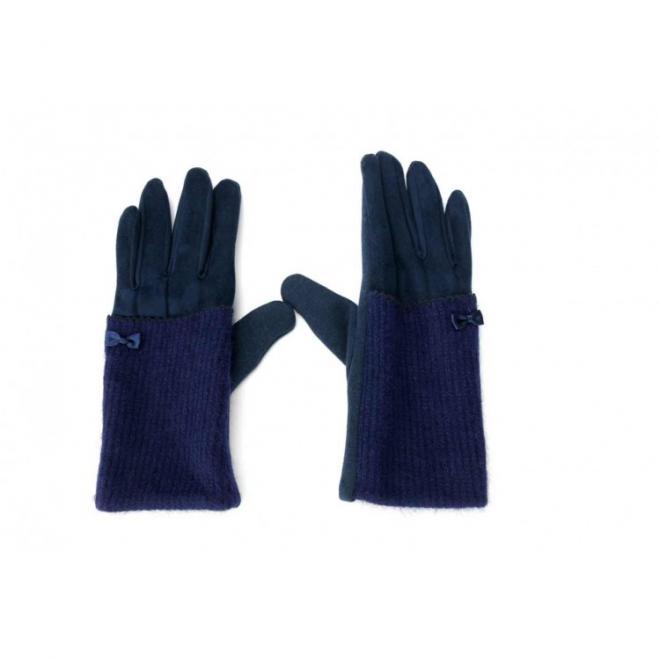 Dámské elegantní rukavice s mašlí v tmavě modré barvě