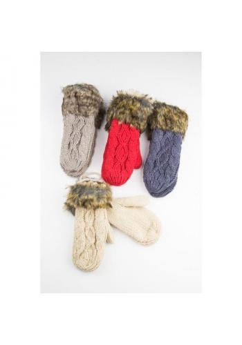 Vlněné dámské rukavice krémové barvy s kožešinou