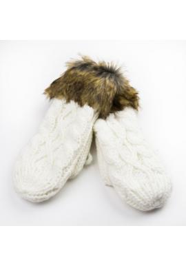 Dámské vlněné rukavice s kožešinou v bílé barvě