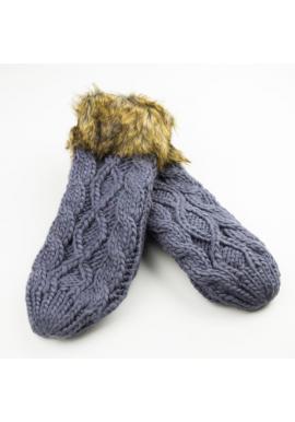 Tmavě šedé vlněné rukavice s kožešinou pro dámy