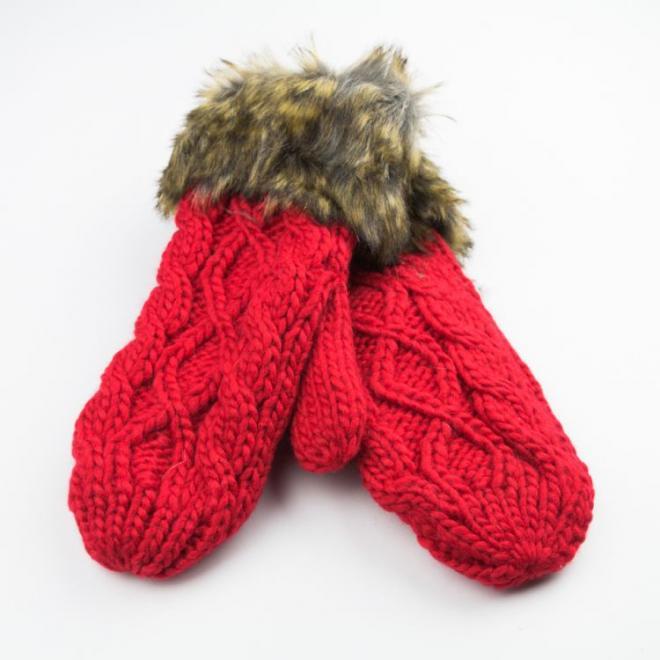 Dámské vlněné rukavice s kožešinou v červené barvě