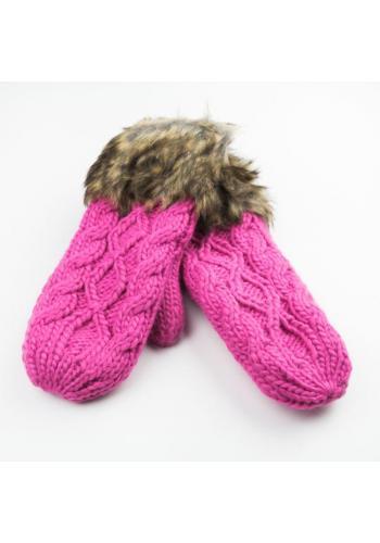 Dámské vlněné rukavice s kožešinou v růžové barvě