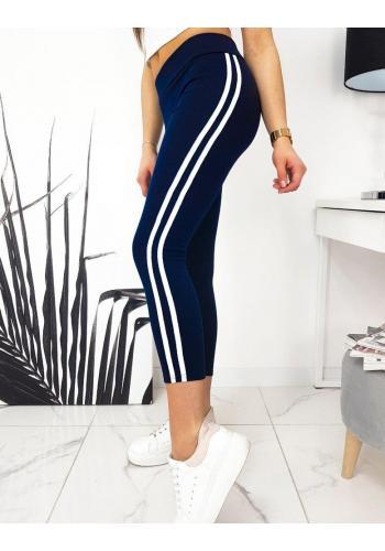 Sportovní dámské legíny tmavě modré barvy s bočními pásy