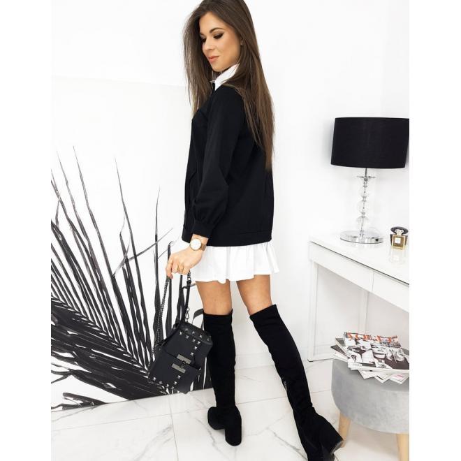 Černé módní šaty s volánem a límcem pro dámy