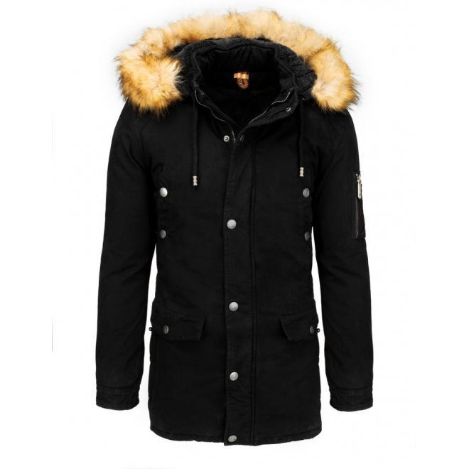 Zimní pánské parky černé barvy s kapucí