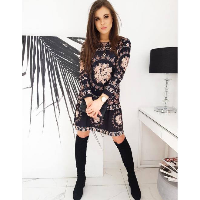 Dámské vzorované šaty s dlouhým rukávem v černé barvě