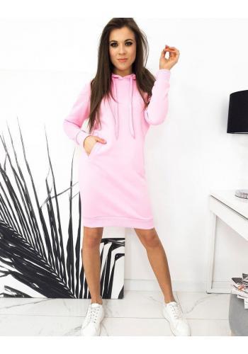 Mikinové dámské šaty růžové barvy s kapucí