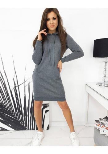 Tmavě šedé mikinové šaty s kapucí pro dámy