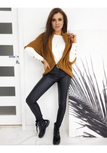 Dámský módní svetr s copem vzadu v hnědé barvě