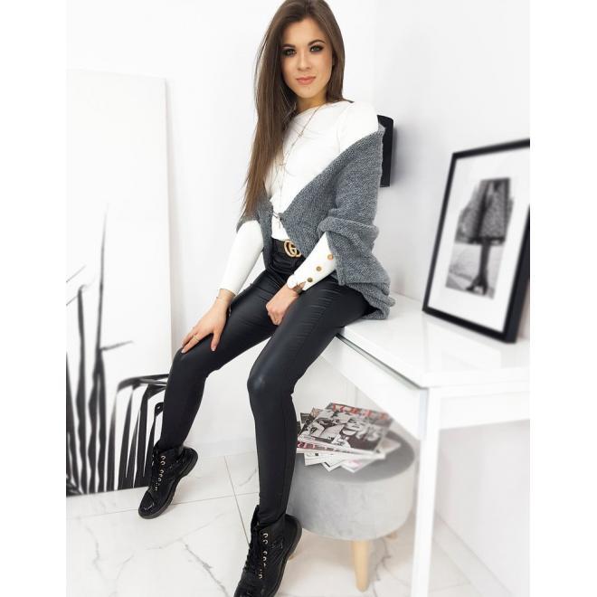 Módní dámský svetr tmavě šedé barvy s copem vzadu