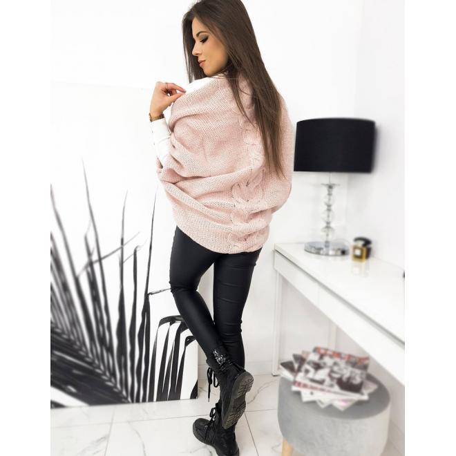 Dámské módní svetry s copem vzadu v růžové barvě