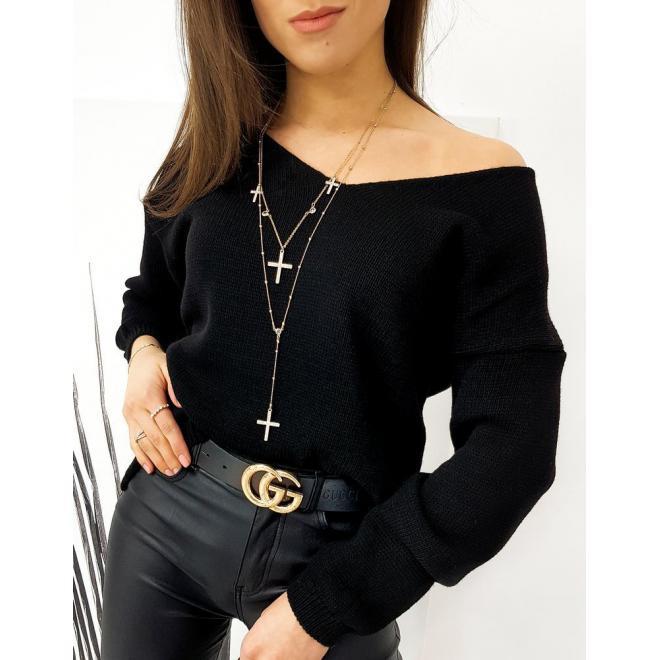 Dámský klasický svetr s véčkovým výstřihem v černé barvě