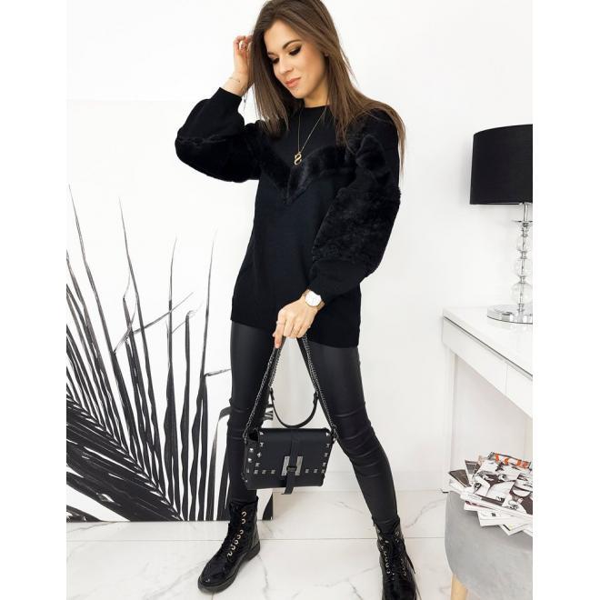 Černý oversize svetr s příjemnými vložkami pro dámy