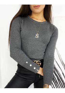 Tmavě šedý přiléhavý svetr s knoflíky na rukávech pro dámy