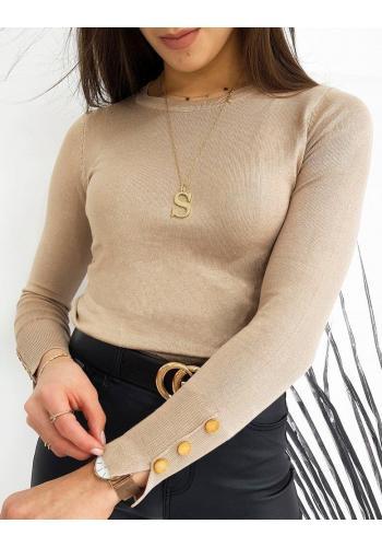 Přiléhavý dámský svetr béžové barvy s knoflíky na rukávech