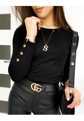 Dámský přiléhavý svetr s knoflíky na rukávech v černé barvě