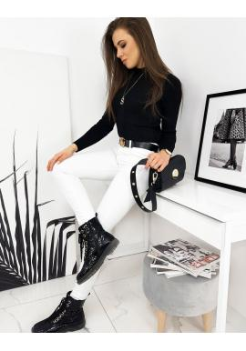 Dámský žebrovaný svetr s polrolákem v černé barvě