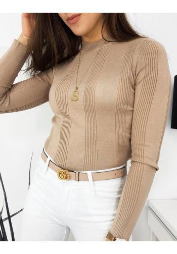 Béžový žebrovaný svetr s polrolákem pro dámy