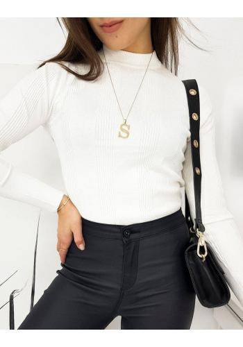 Dámské žebrované svetry s polrolákem v bílé barvě