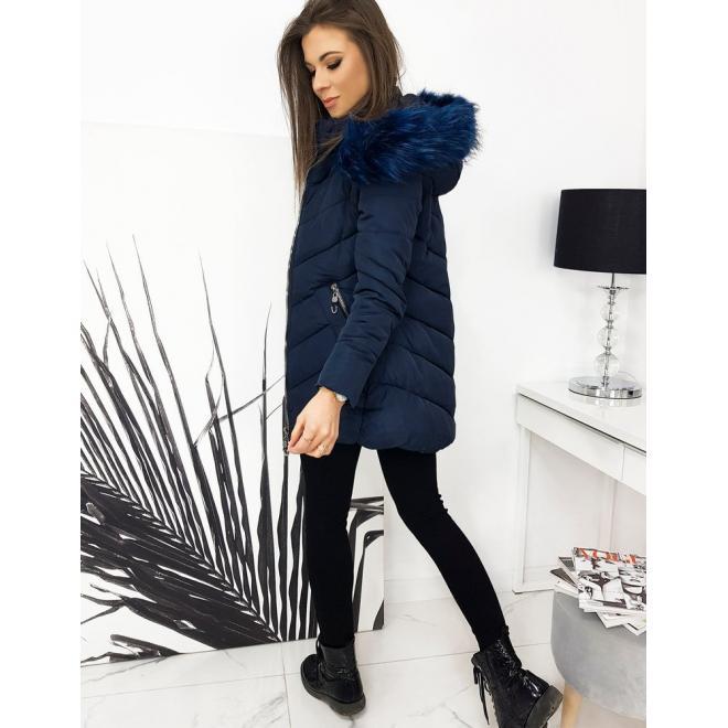 Prošívaná dámská bunda tmavě modré barvy s kapucí