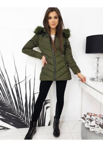 Dámská prošívaná bunda s kapucí v kaki barvě